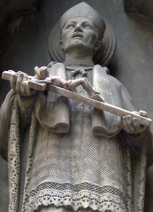 detail of a state of Saint Josep Oriol; c.1900, artist unknown; Barcelona, Spain; photographed on 11 May 2008 by Bocachete; swiped from Wikimedia Commons