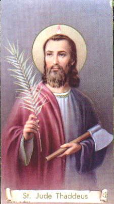 Saint Jude Thaddeus holy card, artist unknown