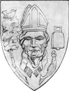 illustration of Saint Kentigern; from a bas relief in the Glasgow cathedral