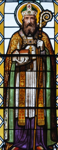 detail of a stained glass window depicting Saint Lawrence O'Toole; by Lucien-Leopod Lobin, latter 19th century; 6th window in the ambulatory, Cathedral of the Immaculate Conception, Sligo, County Sligo, Ireland; photographed on 14 September 2013 by Andreas F. Borchert; swiped from Wikimedia Commons