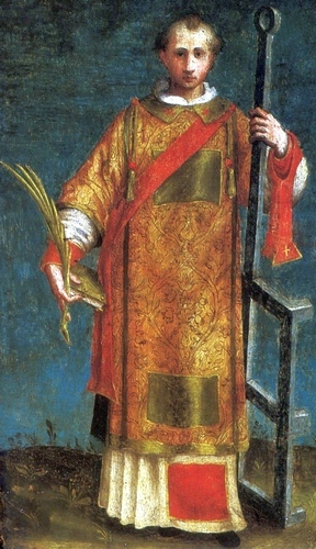 detail of a painting of Saint Lawrence of Rome; early 16th century by Creator:Francesco Rizzo da Santacroce; Museum of John Paul II Collection, Warsaw, Poland; swiped from Wikimedia Commons