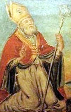 detail of a painting of Saint Leucius of Brinidisi; 1780 by Oronzo Tiso; swiped from Wikimedia Commons