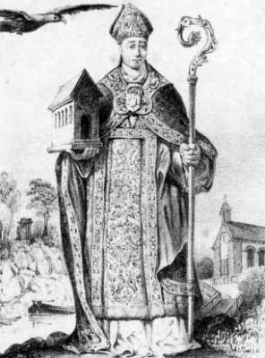 illustration of Saint Liutwin of Trier, c.1850