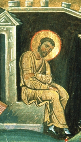 Saint Lucian of Antioch in prison as depicted in a detail from the 11th century Menologian of Basil II; swiped from Wikimedia Commons