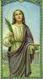 holy card of Saint Lucy of Syracuse holding a palm of martyrdom, date and artist unknown