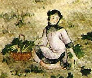 detail of an Italian holy card of Saint Maria Zheng Xu, date and artist unknown; swiped from Santi e Beati