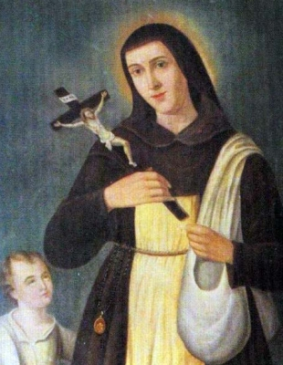 detail of a holy card of Saint Marina / Marino, date and artist unknown; swiped from Santi e Beati