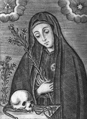 detail of an engraving of Saint Mariana de Jesus of Quito; 1732 by Francisco Sylverio de Sotomayor; swiped from Wikimedia Commons