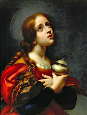 Saint Mary Magdalen holy card in which she holds her alabaster jar of oil, from the painting 'Magdalene', by Carlo Dolci, 1665-1670, oil on canvas, Galleria Palatina, Florence, Italy