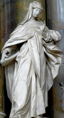 detail of a statue of Saint Mechtilde of Hackeborn by Johann Georg Üblhör, date unknown; altar of Saint John of Nepomuk, monastery church, Engelhartszell, Upper Austria, Austria; photographed on 27 September 2015 by Wolfgang Sauber; swiped from Wikimedia Commons