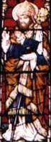 photograph of a stained glass window of Saint Nathy, Collooney, County Sligo, Ireland; he is depicted as a bishop; window construction date unknown, photographer unknown; swiped off the web site of the diocese of Achonry, Ireland