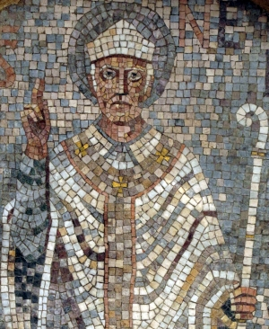 detail of an mosaic of Saint Nebridi of Ègara; date and artist unknown; Rectory of the church of Sant Pere, Terrassa, Catalonia, Spain; photographed on 13 August 2010 by Enfo; swiped from Wikimedia Commons