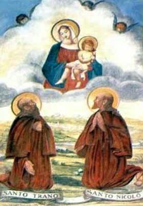 Italian holy card of Saint Nicolo and Saint Trano, date and artist unknown; swiped from Santi e Beati