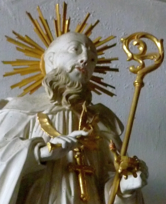 detail of a statue of Saint Nonnosus, Church of Saint Peter and Paul, Thierhaupten, Augsburg, Germany