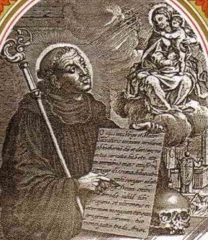 detail of an antique Italian holy card of Saint Odilo of Cluny