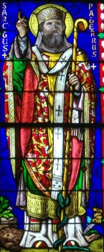 detail of a stained glass window of Saint Paternus of Vannes, 1878, artist unknown; Saint Peter cathedral of Vannes, Morbihan, France; photographed on 26 October 2012 by Fab5669; swiped from Wikimedia Commons