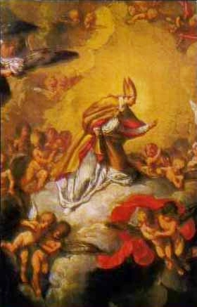 detail of an Italiano holy card of Saint Paulinus of Antioch, date and artist unknown; swiped from Santi e Beati
