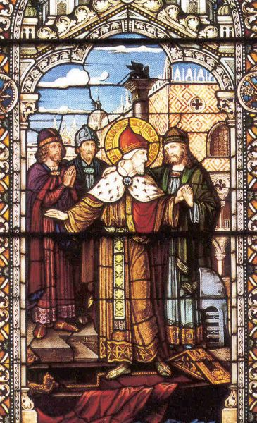 Saint Peter Orseolo stained glass window at Saint Meinrad Abbey, Saint Meinrad, Indiana, USA, artist unknown; much thanks to Novice Shawn Henderson; pray for Shawn's vocation and novitiate