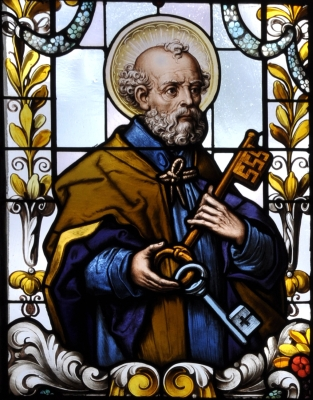 detail of a stained glass window of Saint Peter the Apostle; 19th century by F X Zettler, Munich, Germany; parish church of Saint Alban, Gutenzell-Hürbel, Biberach, Germany; photographed in January 2015 by Andreas Praefcke; swiped from Wikimedia Commons