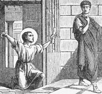jpg illustration of Saint Onesimus returning to Philemon, the letter from Saint Paul the Apostle in his hand; taken from 'Pictorial Lives of the Saints', 1892, artist unknown