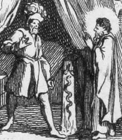 Saint Portianus the Abbot approaching King Thierry in his camp to speak for the people and prisoners
