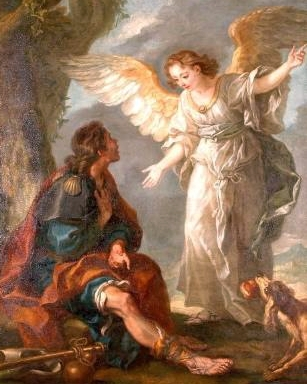 detail of the painting 'Saint Roch and the Angel'; 19th century by Charles Amédée Philippe van Loo; Museum of Art and Archaeology, Senlis, France; swiped from Wikimedia Commons