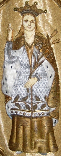 detail of an image of Saint Rolende on a banner in the church of Saint-Michel-et-Sainte-Rolende in Gerpinnes, Belgium; date and artist unknown; photographed in May 2015 by Grentidez; swiped from Wikimedia Commons