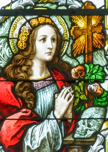 detail of a stained glass window of Saint Rosalia, date and artist unknown; Servite church, Schönbühel-Aggsbach, Austria; photographed on 27 September 2015 by Henry Kellner; swiped from Wikimedia Commons