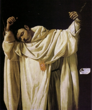 detail of the painting 'The Martyrdom of Saint Serapion' by Francisco de Zurbaran, 1628, Wadsworth Atheneum, Hartford, Connecticut; swiped off Wikipedia