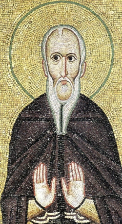 detail of an 11th century Byzantine mosaic of Saint Theodore the Studite, artist unknown; Hosios Loukas Monastery, Boeotia, Greece; swiped from Wikimedia Commons