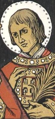 detail from a commemorative event card showing Saint Kilian, Saint Totnan and Saint Kolonat; by Matthäus Schiestl, 1907; swiped from Wikimedia Commons