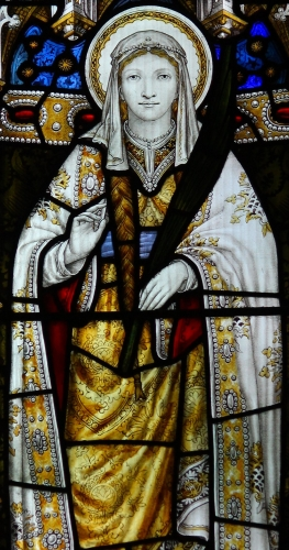 detail of a stained glass window of Saint Tydfil, date and artist unknown; Llandaff Cathedral, Llandaff, Cardiff, Wales; swiped from Wikimedia Commons