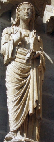 statue of Saint Ulpha; date and artist unknown; cathedral of Amiens, France; swiped from Wikipedia Commons