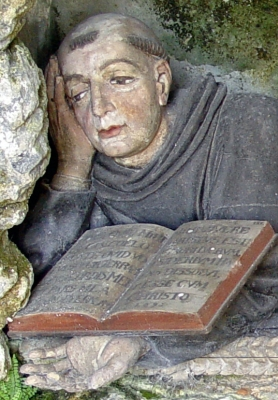 photograph of a detail of a statue o Saint Ursicinus of Saint-Ursanne, Felsen, Germany; sculptor unknown; photo taken October 2007 by Yesuitus2001; swiped off Wikipedia