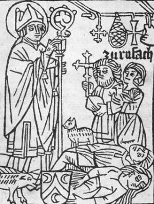 woodcut from a handbook for pilgrims to the shrine of Saint Valentine of Passau, c.1480