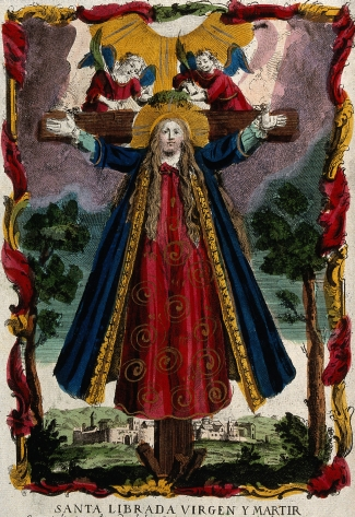 detail of a coloured etching of Saint Liberata, date and artist unknown; Wellcome Library, London, England; swiped from Wikimedia Commons