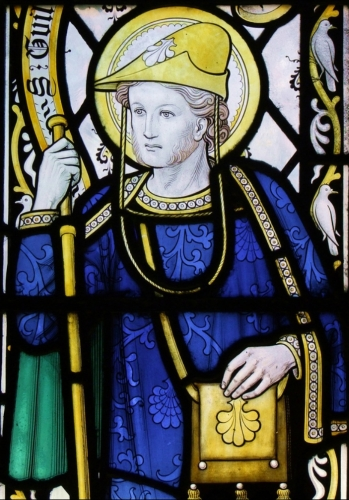 detail of a stained glass window of Saint William of Perth, c.1900, artist unknown; cathedral of Rochester, England; swiped from Wikimedia Commons