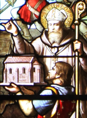 detail of a stained glass window of Saint Guénolé; date unknown, artist unknown; Cathédral of Saint-Corentin, Quimper, France; photographed on 19 July 2010 by Thesupermat; swiped from Wikimedia Commons