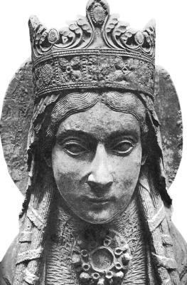 detail of a statue of Sainte Clotilde, Notre-Dame de Corbeil, France, artist unknown, photographer unknown; swiped off Wikipedia