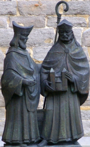statue of Saint Monulphus and Saint Gondulphus by Jef Courtens, 1993; Sint Servaasklooster, Maastricht, The Netherlands; photographed on 13 May 2010 by Otter; swiped from Wikimedia Commons