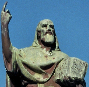 detail of a statue of San Bartolomeo da Rossano; statue stands in front of the Grottaferrata Abbey, Latium, Italy; artist unknown; photographed on 7 December 2008 by Haneburger; swiped from Wikimedia Commons
