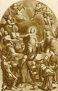detail from a 1940's Italian holy card of the Seven Founders of the Servants of Mary, artist unknown