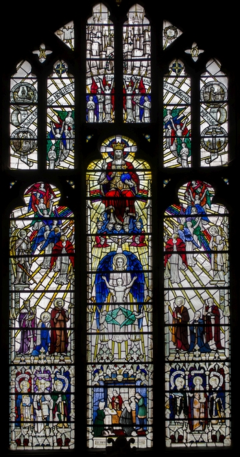 the 'Elgar Window' by A. K. Nicholson, 1935; based on 'The Dream of Gerontius', the window shows Gerontius ascending to the Heavenly City, surrounded by figures from the Bible; Worcester Cathedral, England; photographed on 20 July 2015 by Jules and Jenny; swiped from Wikimedia Commons