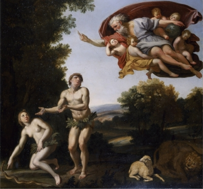 detail of the painting 'The Expulson of Adam and Eve'; c.1600 by Domenico Zampieri; oil on canvas; Chatsworth House, Derbyshire, England; swiped from Wikimedia Commons