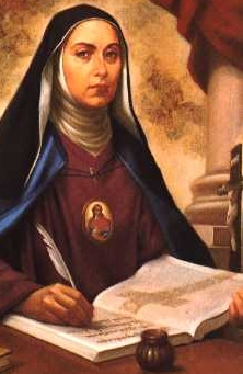 detail of a devotional illustration of Blessed Giulia Crostarosa, c.1910, artist unknown; swiped from Wikimedia Commons