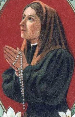 detail of an antique holy card of Venerable Teresa Gardi of Imola