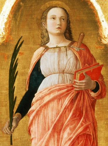 detail of a painting of Saint Justine of Padua in the San Luca Altarpiece by Andrea Mantegna, c.1453; swiped from Wikimedia Commons
