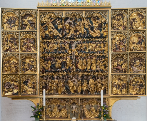 altar reredos by Claus Berg, c.1500; altar of Saint Knud's Cathedral, Odense, Denmark; photographed on 24 February 2016 by Jebulon; swiped from Wikimedia Commons
