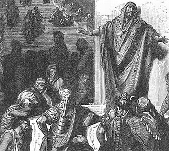detail of an engraving of Jonas preaching to Nineve; by Gustav Dore