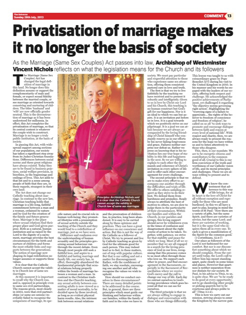 Archbishop Nichols Supports Dissident MPs - Anyone Out There Surprised?
